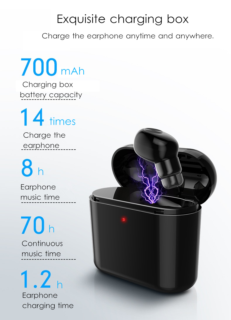 Mini Single Wireless bluetooth Earphone Invisible Portable Stereo Headphone with 700mAh Charging Box