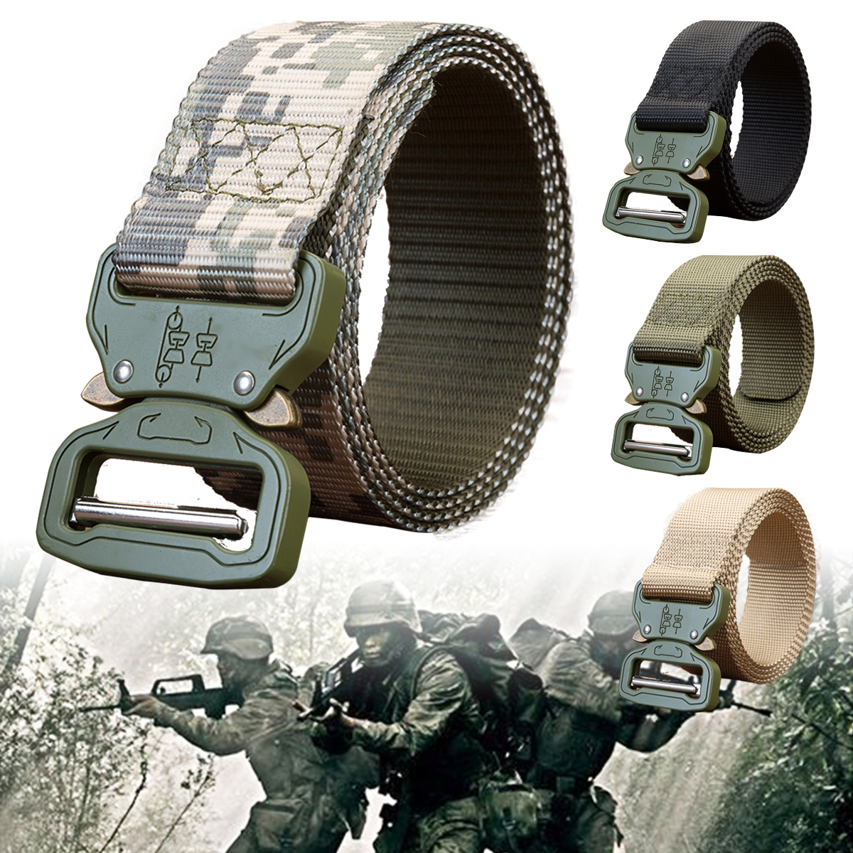 125cm Silver Buckle Canvas Men's Multifunctional Outdoor Tactical Belt