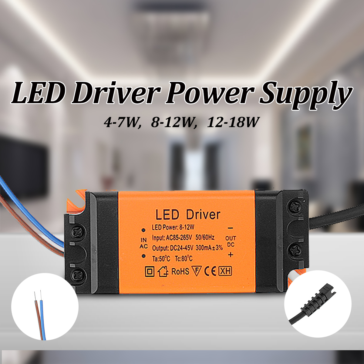 AC85-265V To DC12-82V 4-18W Power Supply LED Driver Constant Current for Floodlight Ceiling Lamp