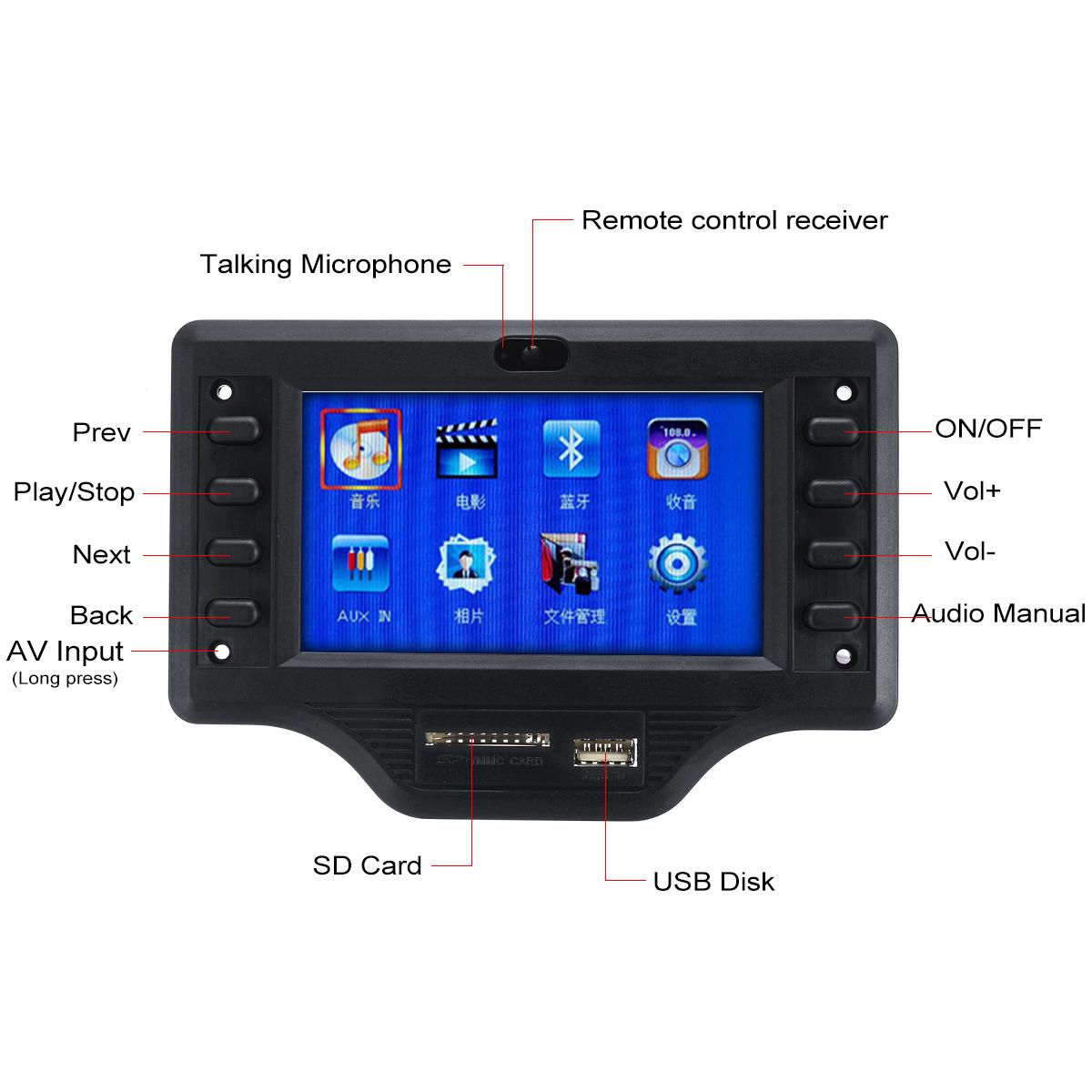 5V 4.3 Inch bluetooth 4.0 TFT Screen MP5 Decoder Board APP APK FM Audio Video Remote Control Car Speaker