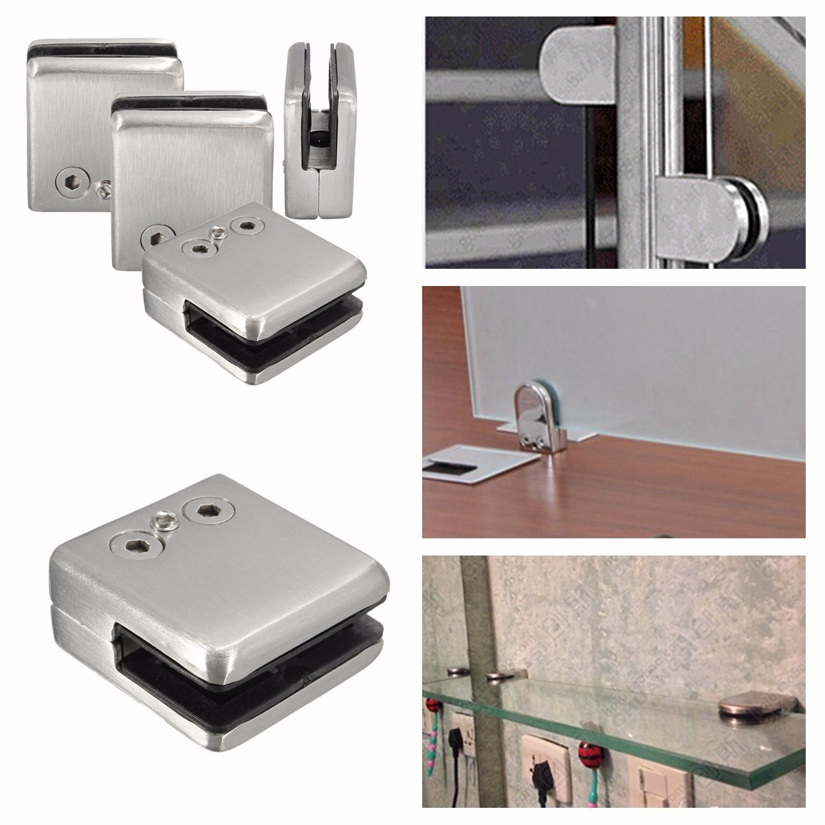 4Pcs Stainless Steel Square Glass Clamp Holder Glass Shelf Bracket Support Clip for Window Balustrad