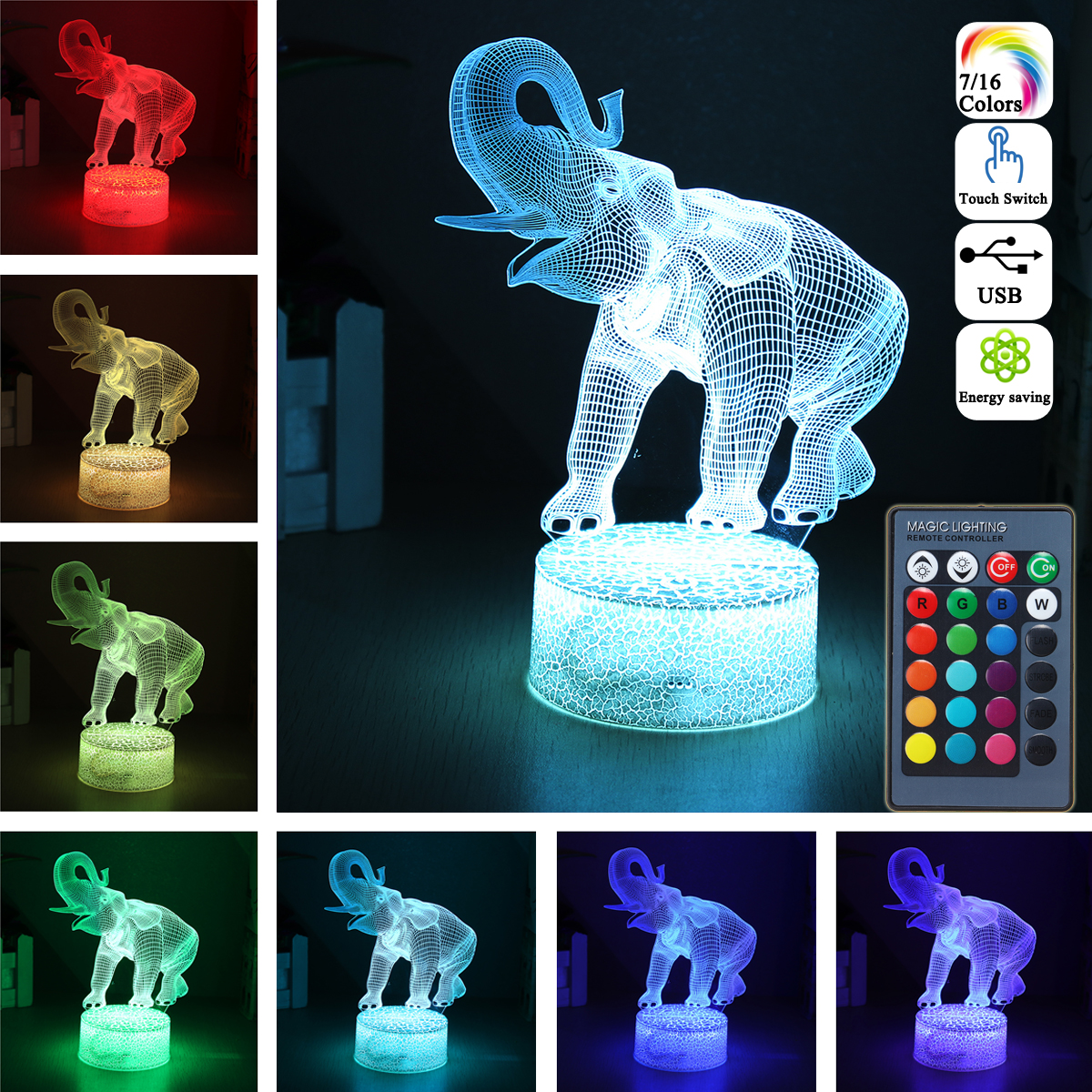 16 Colors 3D LED Night Light Touch Switch Elephant Table Bedroom Lamp Home Decor