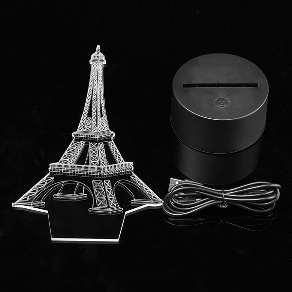 3D Eiffel Tower Illusion LED Table Desk Light USB 7 Color Changing Night Lamp Home Decor