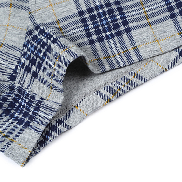 Mens Plaid Printing Cotton Breathable Casual Underwear Mid Rise Soft Boxer Briefs