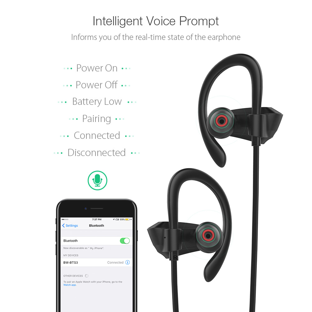 BlitzWolf® BW-BTS3 Sport Adjustable Earhooks bluetooth Earphone IPX5 Waterproof Heavy Bass Headphone