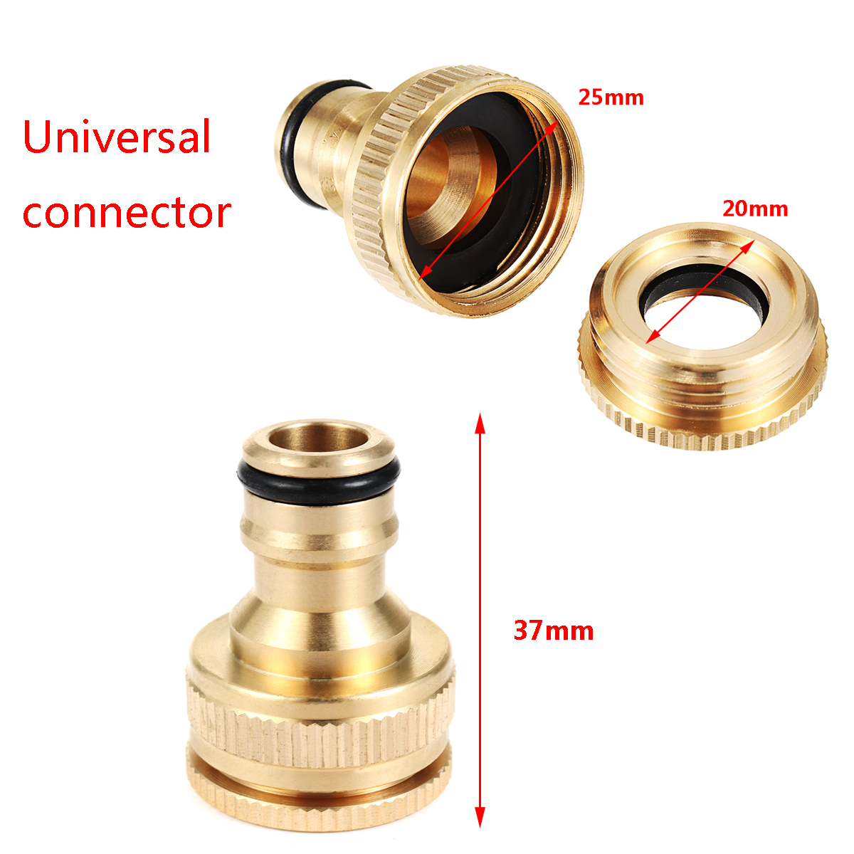 Brass Hose Tap Connector Snap Threaded Garden Water Pipe Adaptor Fitting 20/25mm