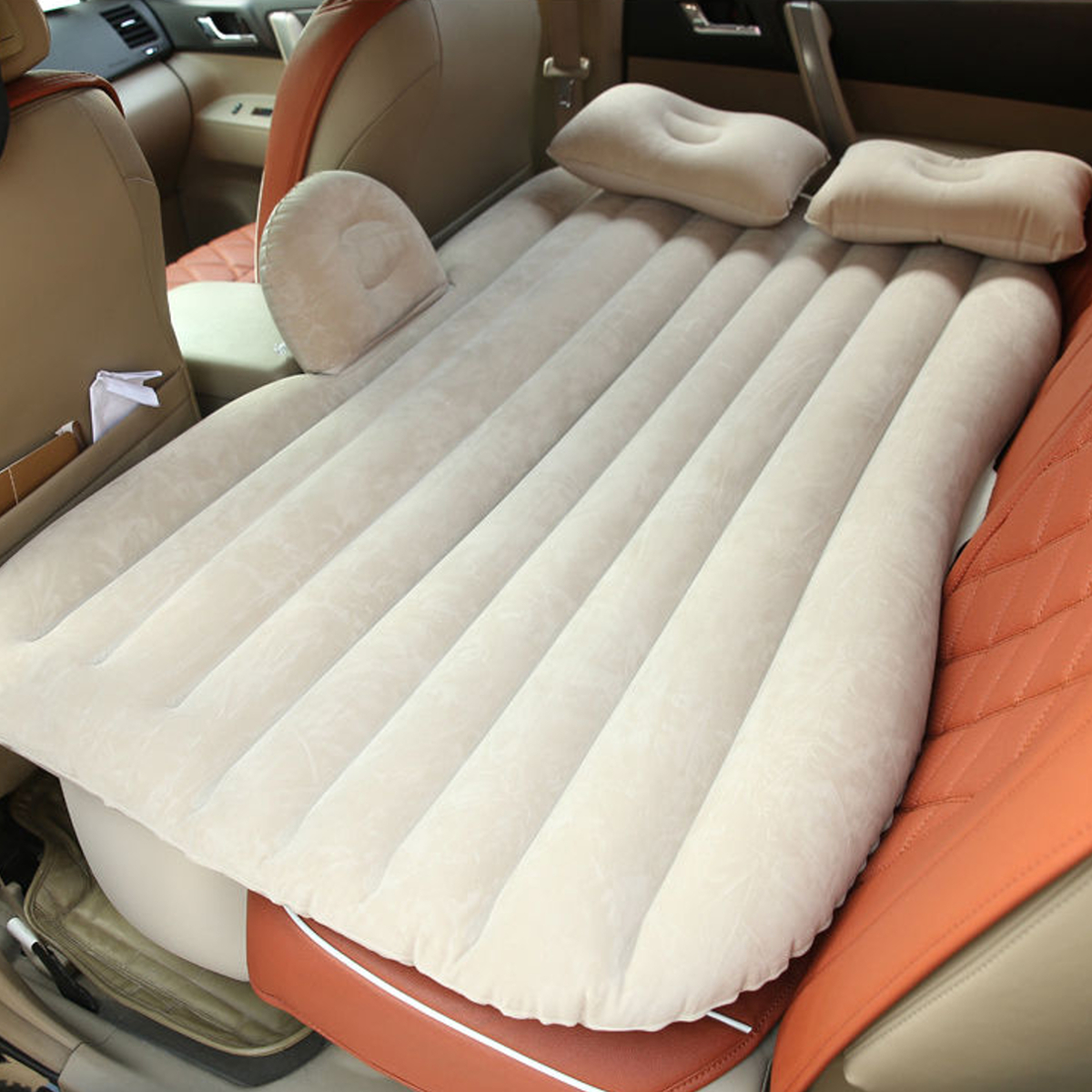 Inflatable Car SUV MPV Back Seat Mattress Air Folding Bed Rest Sleeping Camping +Pillows