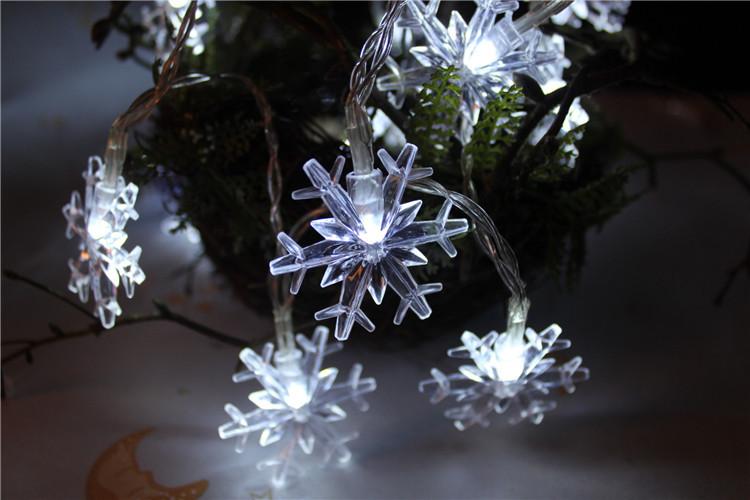 KCASA 1M 10LED Snowflake Shape LED String Light Colorful Battery Powered LED Light for Christmas Halloween Wedding Party Decorations