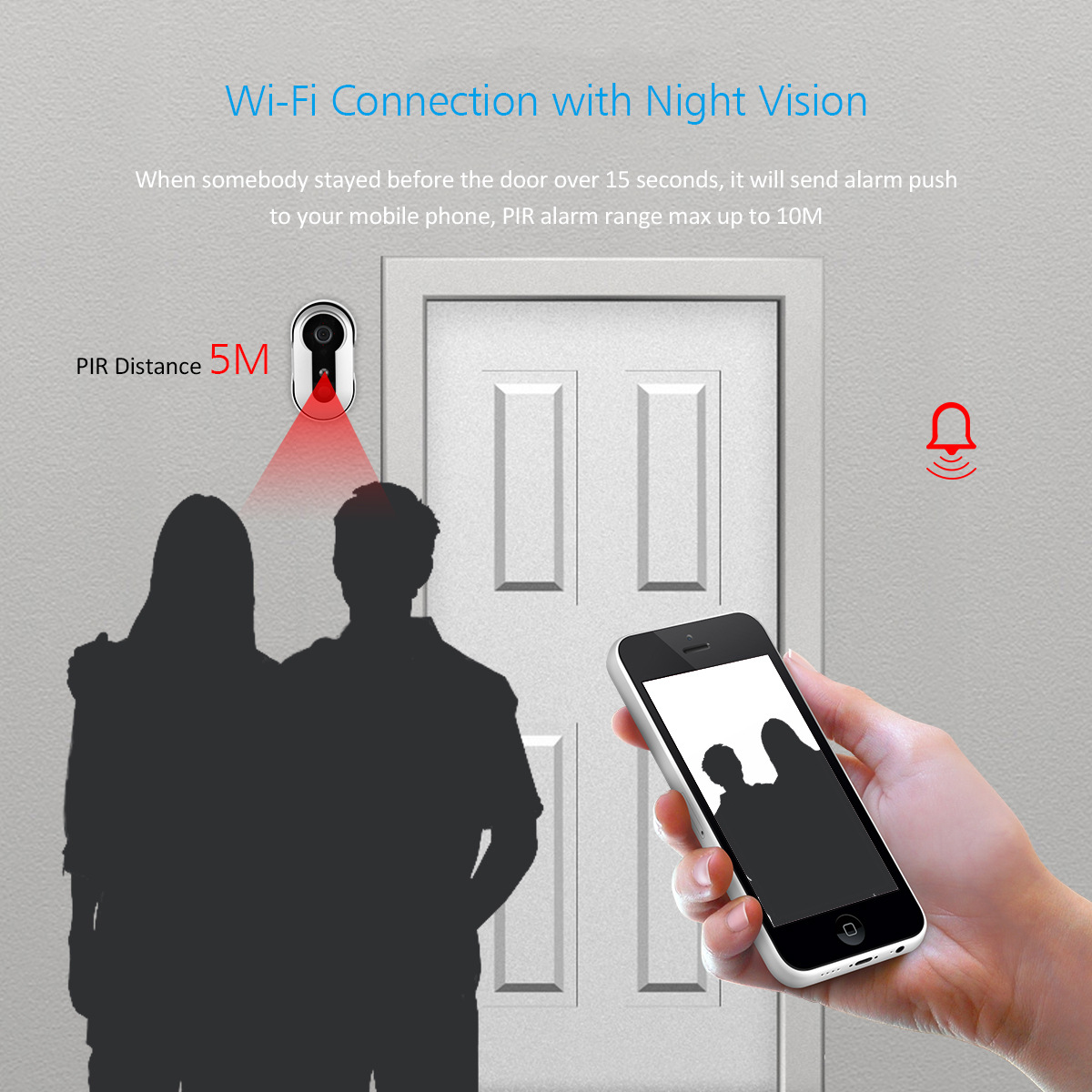 Wireless Video Wifi Doorbell Camera Security Monitor Intercom PIR Night Vision