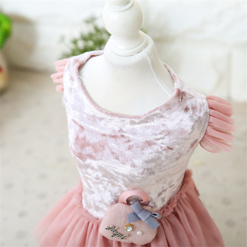 Embroidery Candy Lace Dog Dress Floral Collar Fuzzy Dog Clothes Dresses Soft Clothes for Dogs