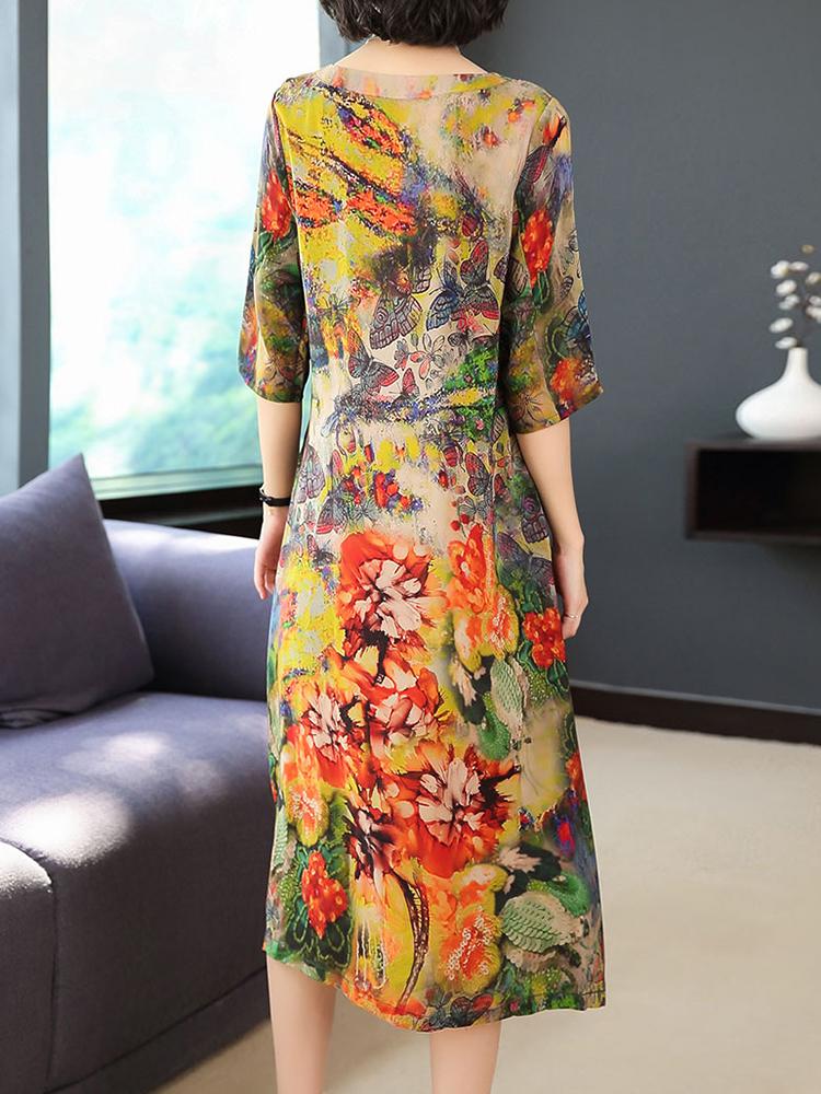 Women O-neck Floral Elegant Dress