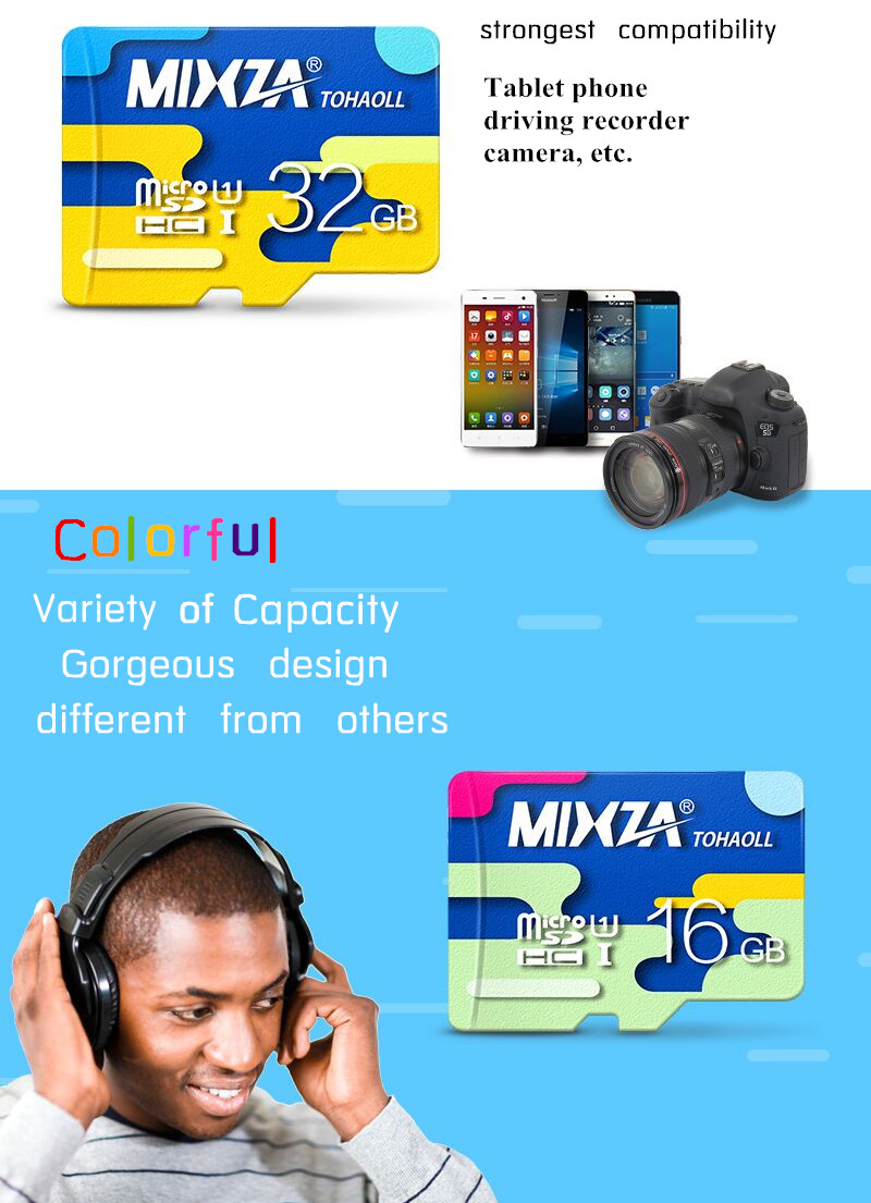 MIXZA Colorful Memory Card 32GB Micro SD Card Class10 For Smartphone Camera MP3