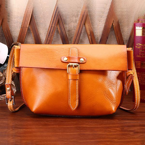 Genuine Leather Vintage Shoulder Bags Belt Crossbody Bags Retro Messenger Bags