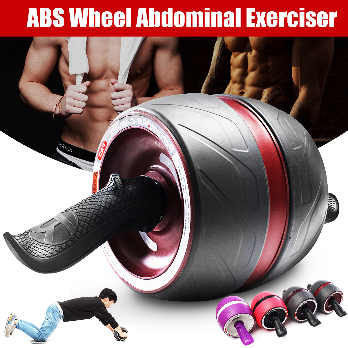 ABS Carver Wheel Abdominal Exerciser Power Roller Fitness Training Gym Workout
