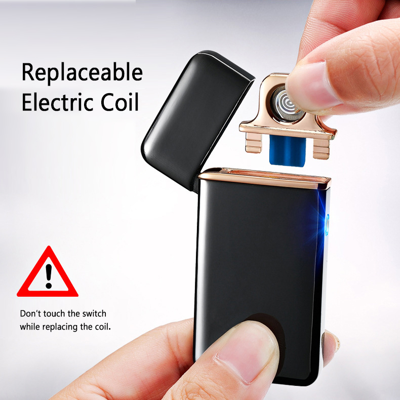 Ultra Thin Electric Lighter Arc Coil Windproof Flameless USB Recahrageable Cigarette Heater