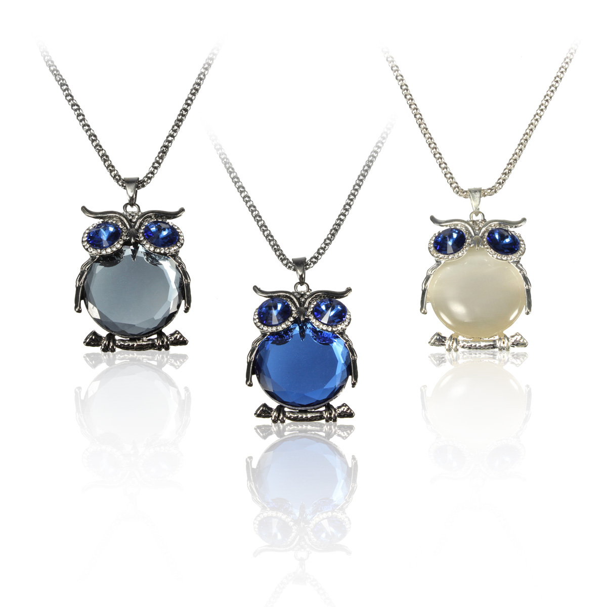 Opal Owl Crystal Pendant Necklace Chain Women Jewelry