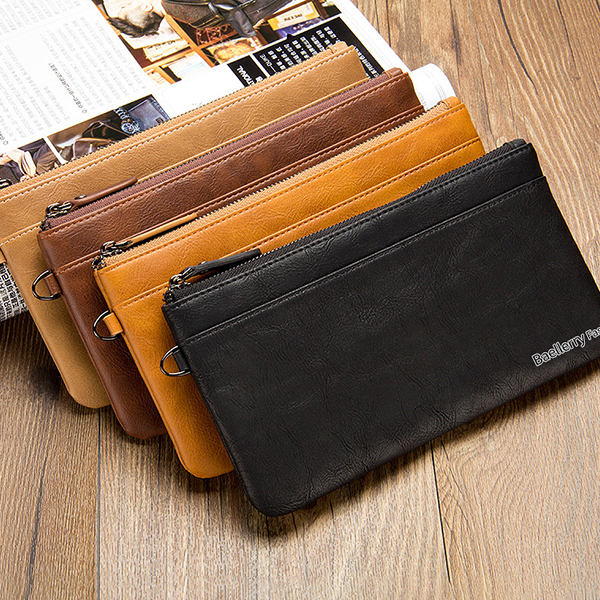Business Casual Zipper Long Wallet Phone Bag Clutch Bag