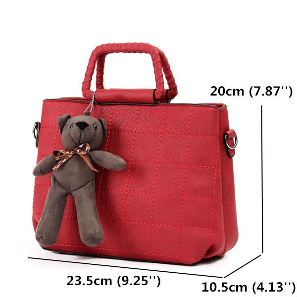 Retro Women PU Leather Plaid Bear Handbags Ladies Elgant Shoulder Bags Crossbody Bags