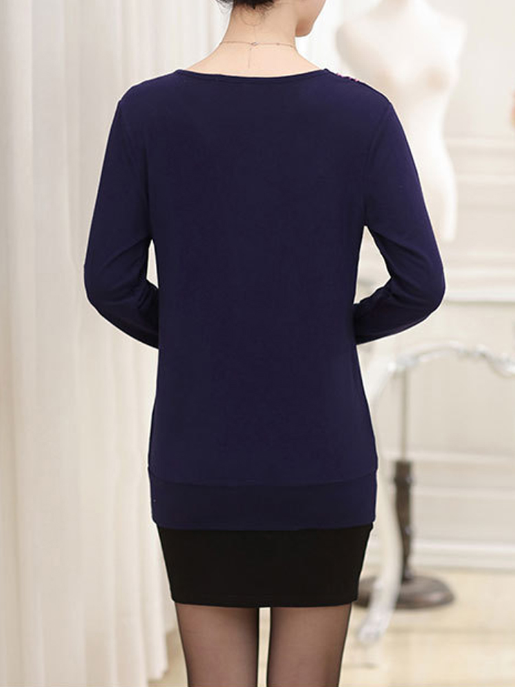 Casual V-Neck Printing Long Sleeve Slim Elegant Pullover Sweater