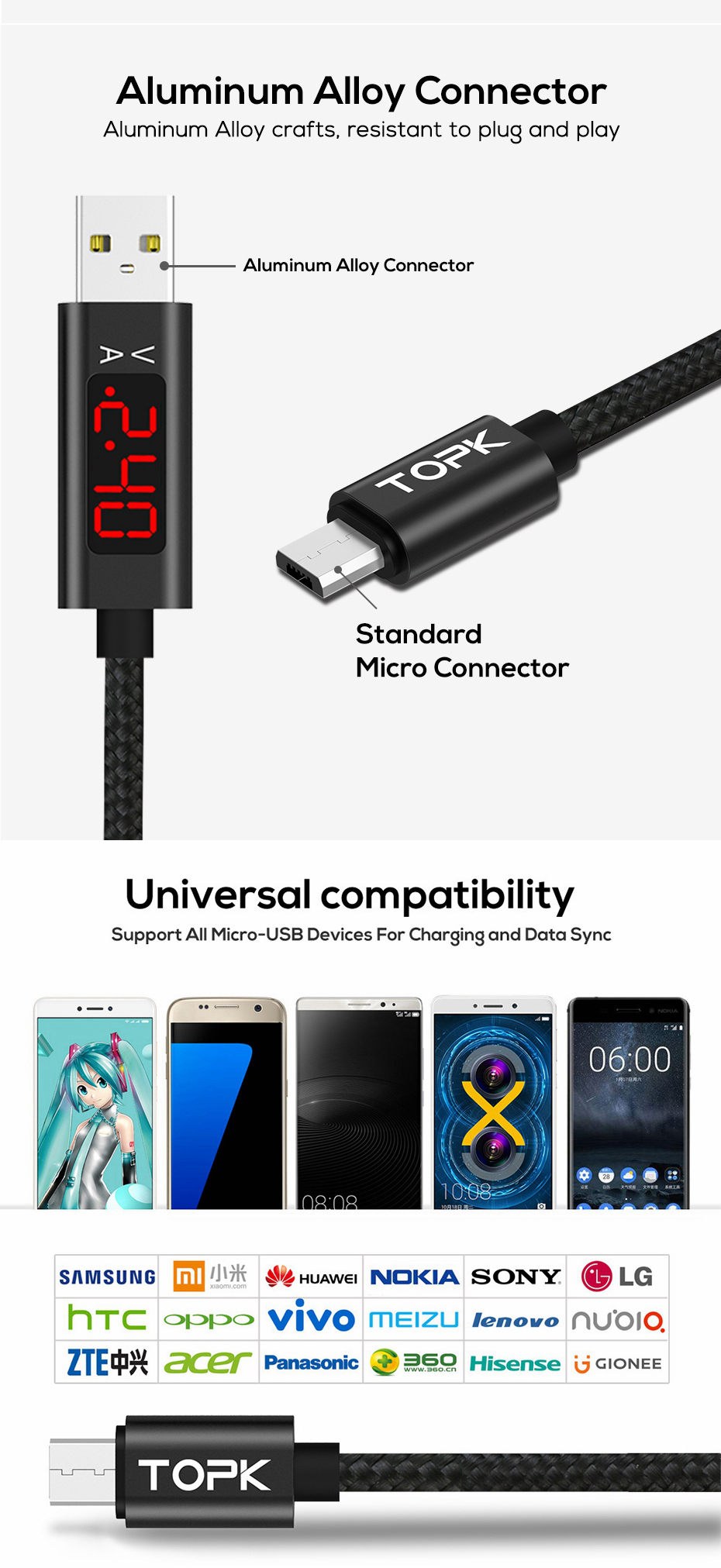 TOPK D-Line1 3A QC3.0 Voltage Current Display Micro USB Fast Charging Data Cable 1M For Phone Tablet