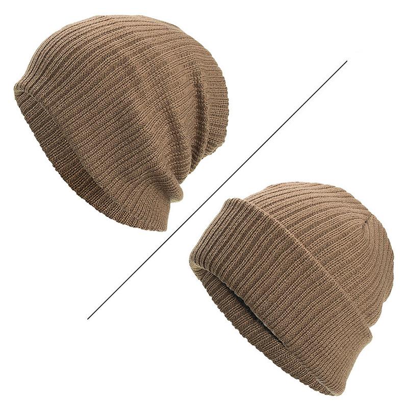 Men Winter Thicken Brimless Knitted Hat Slouch Beanie Caps