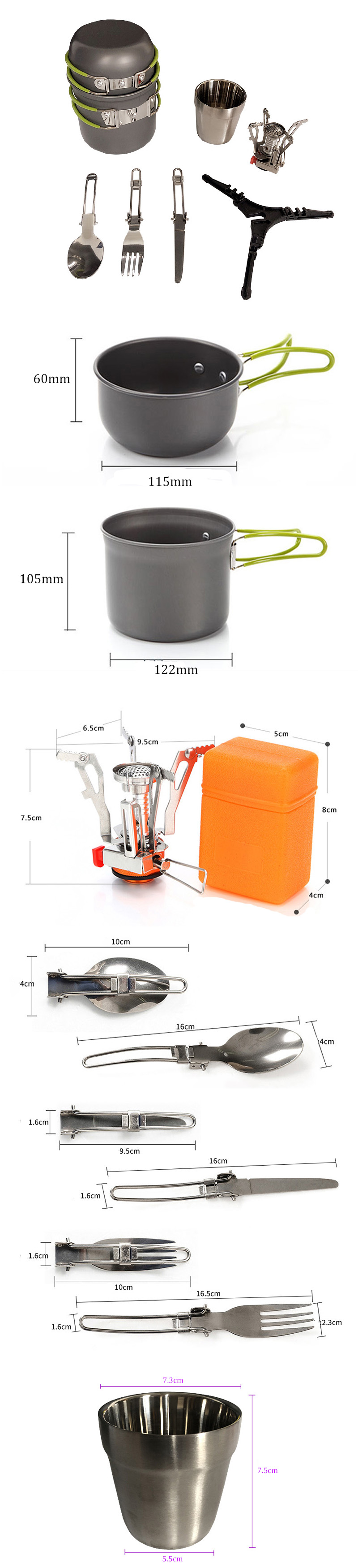 1-2 People Cookware Camping Picnic Set Tableware Portable Stove Bracket Cup Cooking Equipment