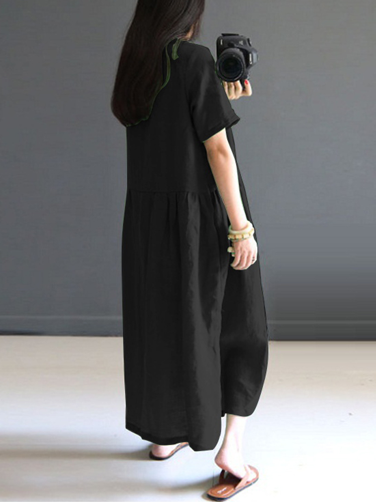 Vintage Women Short Sleeve Loose Mid-long Dress