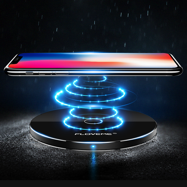 FLOVEME 10W Super Slim Qi Wireless Charger With LED Lig
