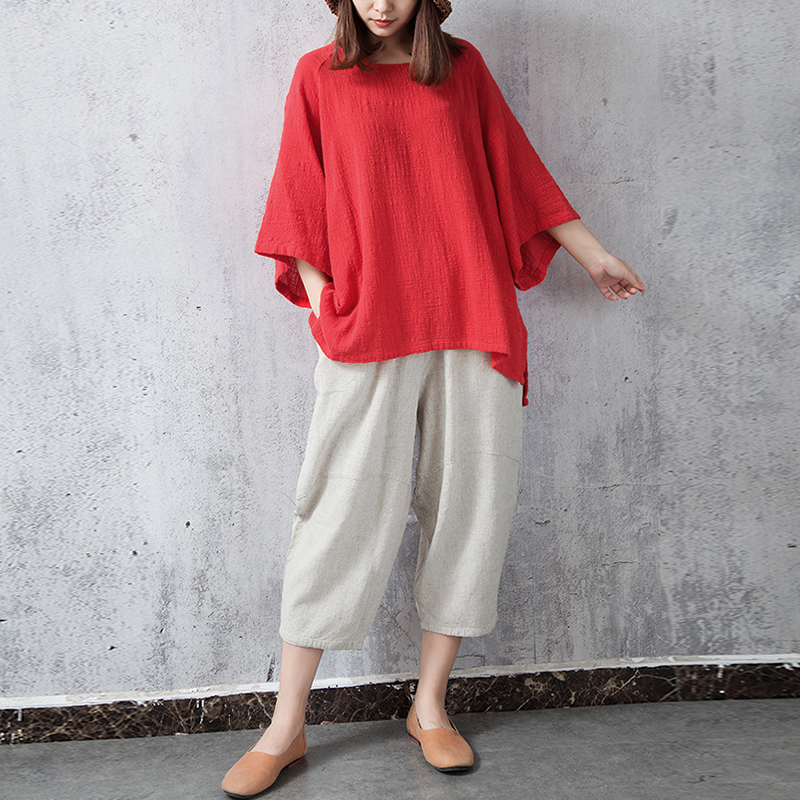 S-5XL Casual Loose Batting Sleeve Women Baggy Blouses