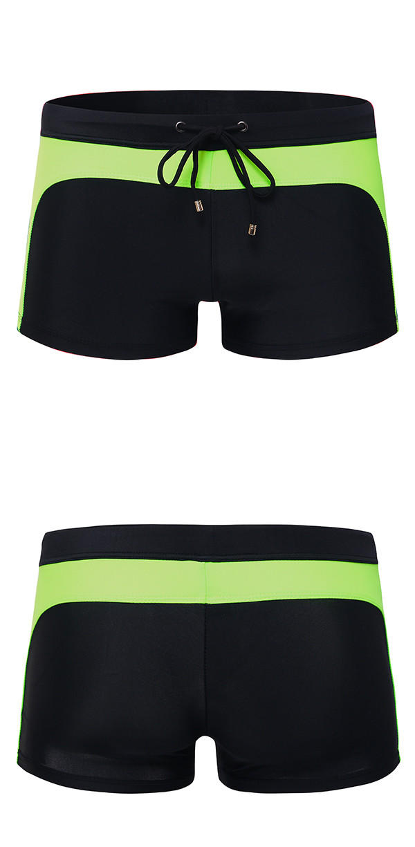 Mens Contrast Color Spa Beach Swimwear Casual Boxers Low Waist Trunks