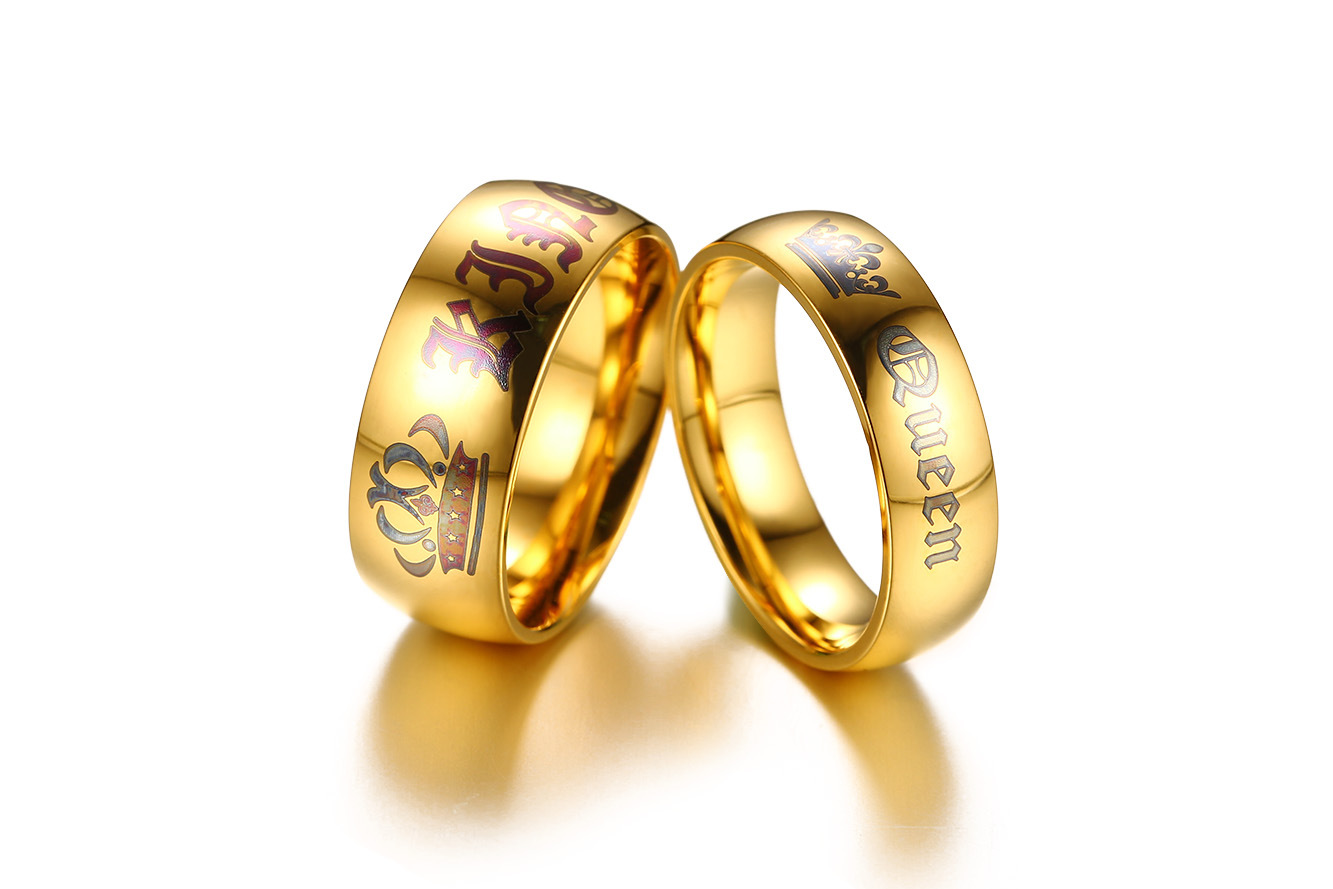 Golden Color Rings Crown Stainless Steel Couple Rings