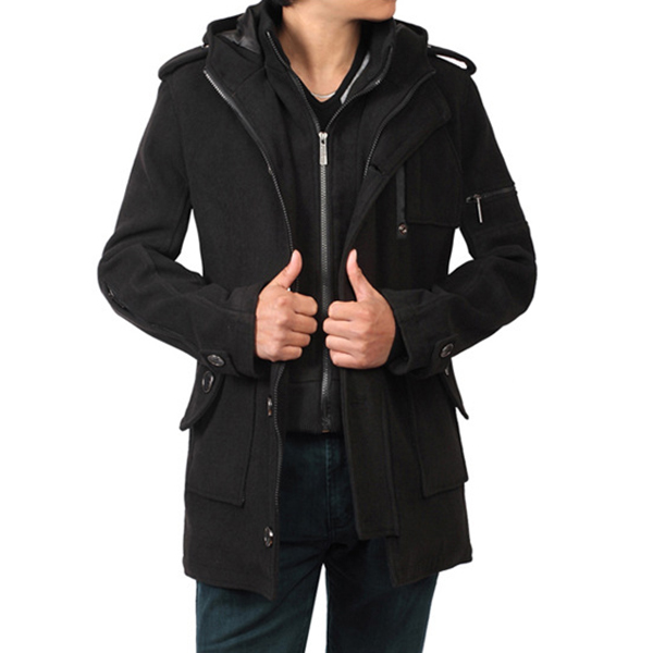 Fall Winter Mens Trench Coat Long Section Coat Large Size Fashion Casual Hooded Coat