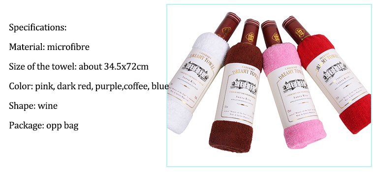 34x72cm Bagged Microfiber Absorbent Wine Shape Towel Festival Valentine Weeding Gift Party Decor