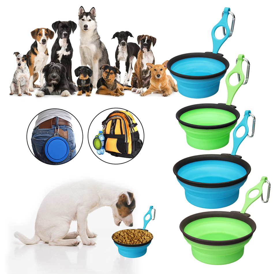 Pet Silica Gel Bowl Dog cat Collapsible Silicone Dow Bowl Candy Color Outdoor Travel Portable Puppy Food Container Feeder Dish