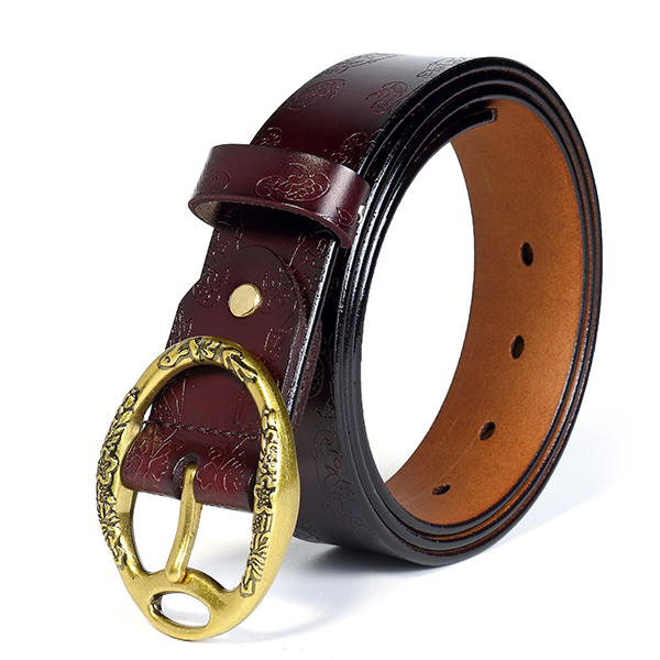 100CM Women Retro Printed Leather Carved Jeans Belts