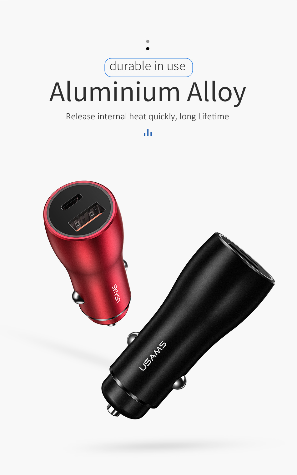 USAMS C6 5.4A PD QC3.0 Type C Fast Car Charger With LED Light For iPhone X S9 Xiaomi Mi8 Oneplus 6