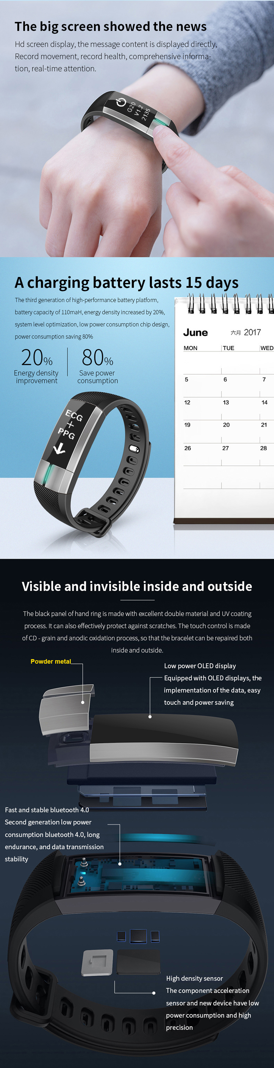 G20 OLED ECG+PPG Blood Pressure Health Monitor Smart Bracelet IP67 Waterproof