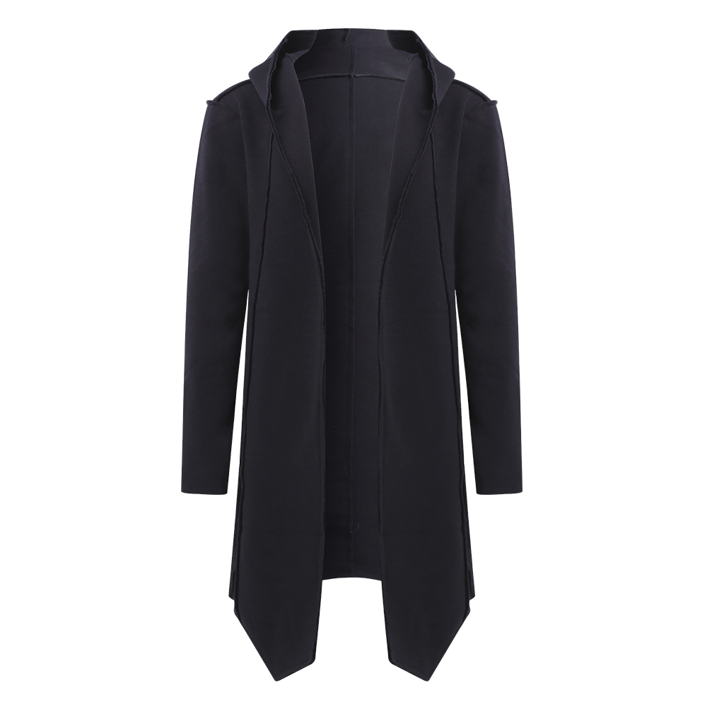 ChArmkpR Mens Irregular Hem Mid-long Hooded Loose Cardigans
