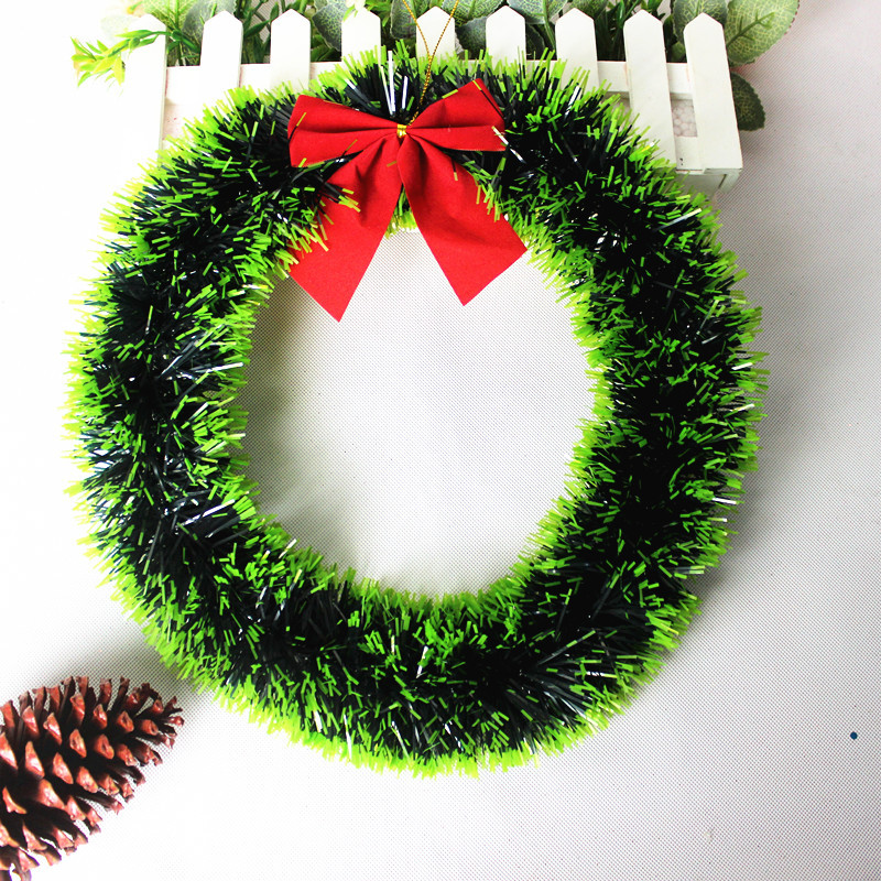 Christmas Decorations 35CM Green Side / White Side of The Bow Knots Madder Wreath Wall Ornament Door Decor
