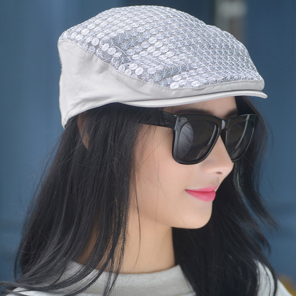 Women Dress Sequins Painter Beret Caps Outdoor Flat Hats