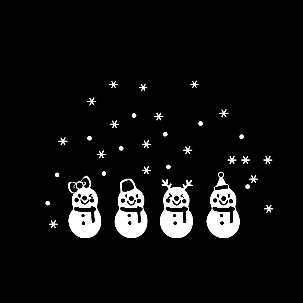 LovelyRemovable New White Winter Merry Christmas Snowman Snowflake Decals Wall Decor Stickers Happy Holiday White Winter Christmas Snowman Snowflake Decals Merry Christmas Holiday Home Window Decor