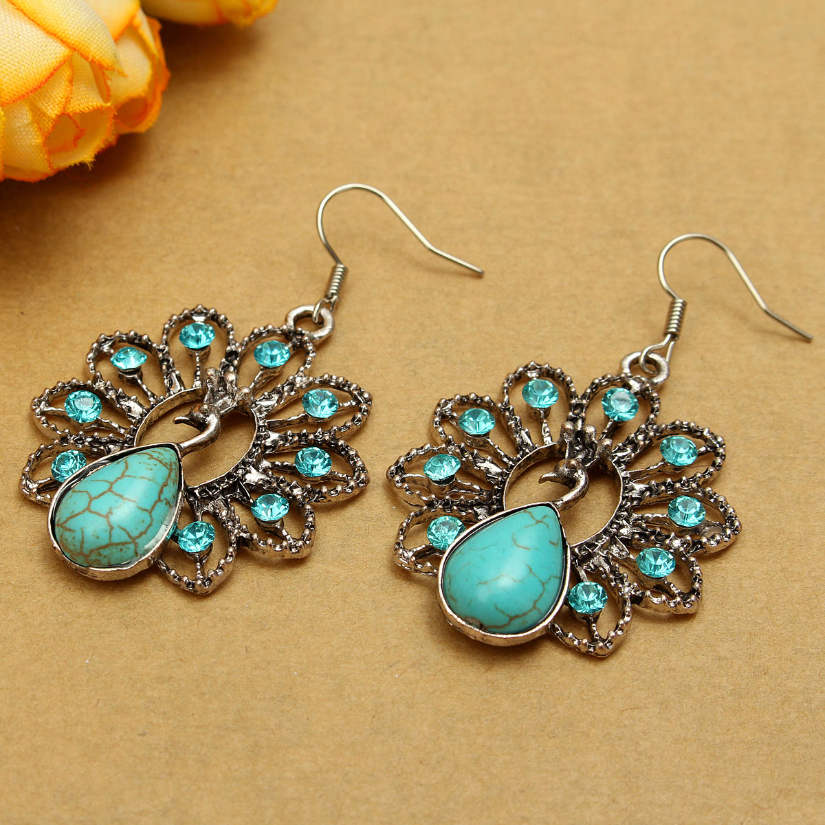 Retro Turquoise Rhinestone Peacock Satement Drop Earrings For Women