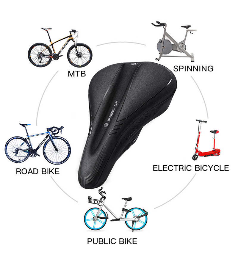WHEEL UP Silicone Cycling Bike Saddle Cover Breathable MTB Road Cushion Bicycle Seat Covers Mat
