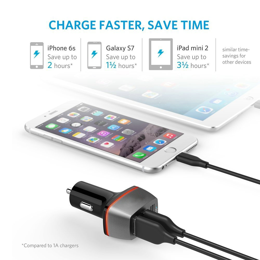 5.1A 25.5W 3 Port USB Car Charger With Power3S Technology for iPhone 8/X iPad