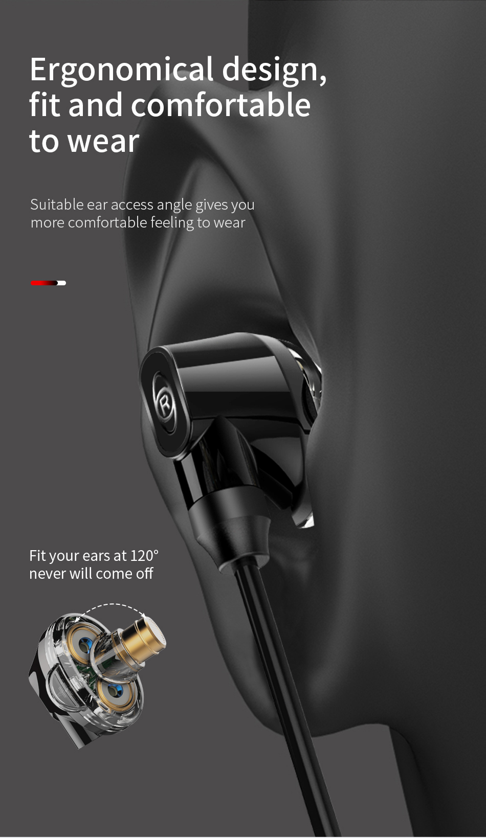 Baseus Encok H10 HiFi Dual Dynamic Earphone 3.5mm Wired Stereo Headphone with Mic for iPhone Xiaomi