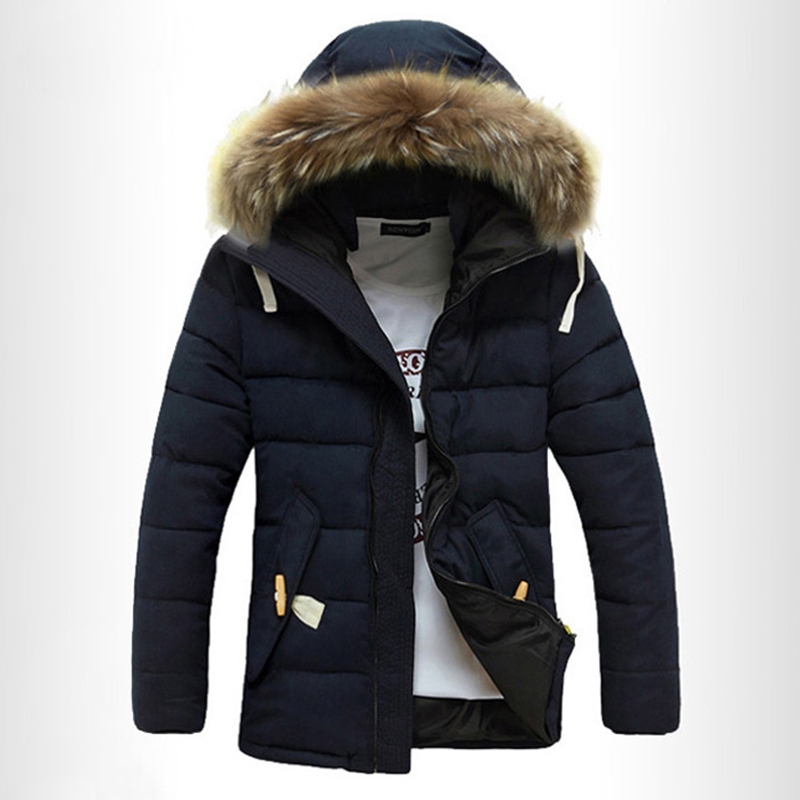 Mens Windproof Winter Thick Warm Furry Hood Parka Jacket