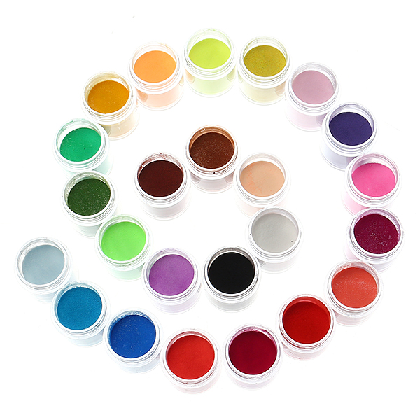 24 Colors Acrylic Manicure Nail Art Powder Dust Decorat