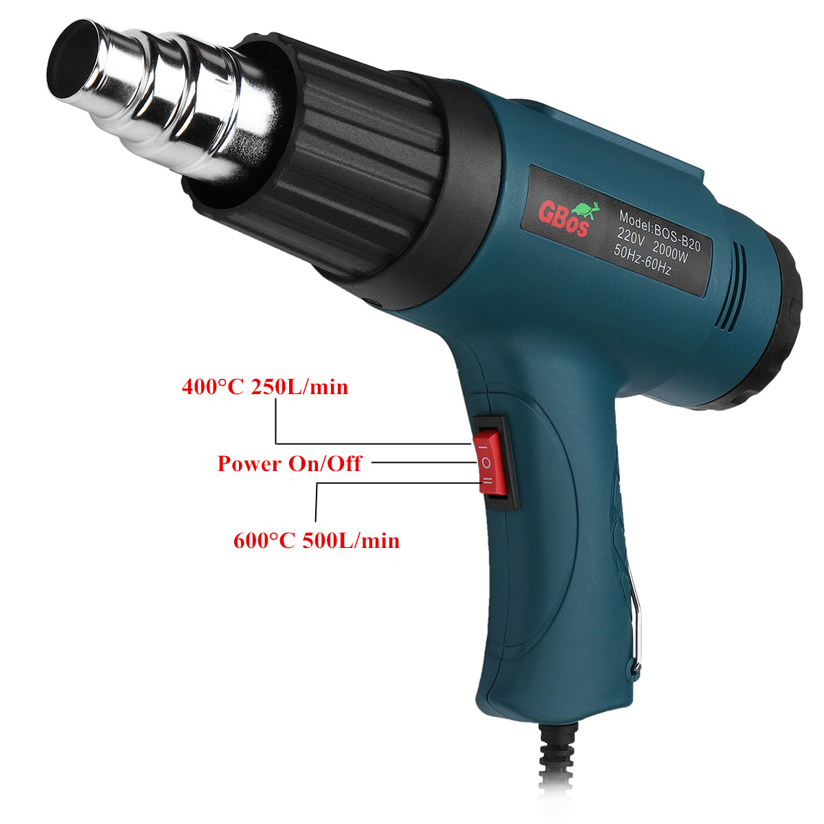 2000W Electric Hot Air Heating Gun Adjustable Temperature Power Tool Set + 4 Nozzles