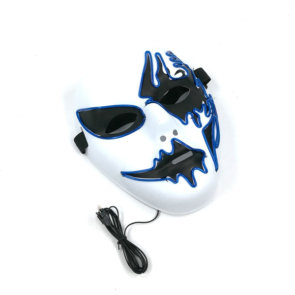 Halloween LED Glowing EL Mask Voice Control Stage Light up for Cosplay Party