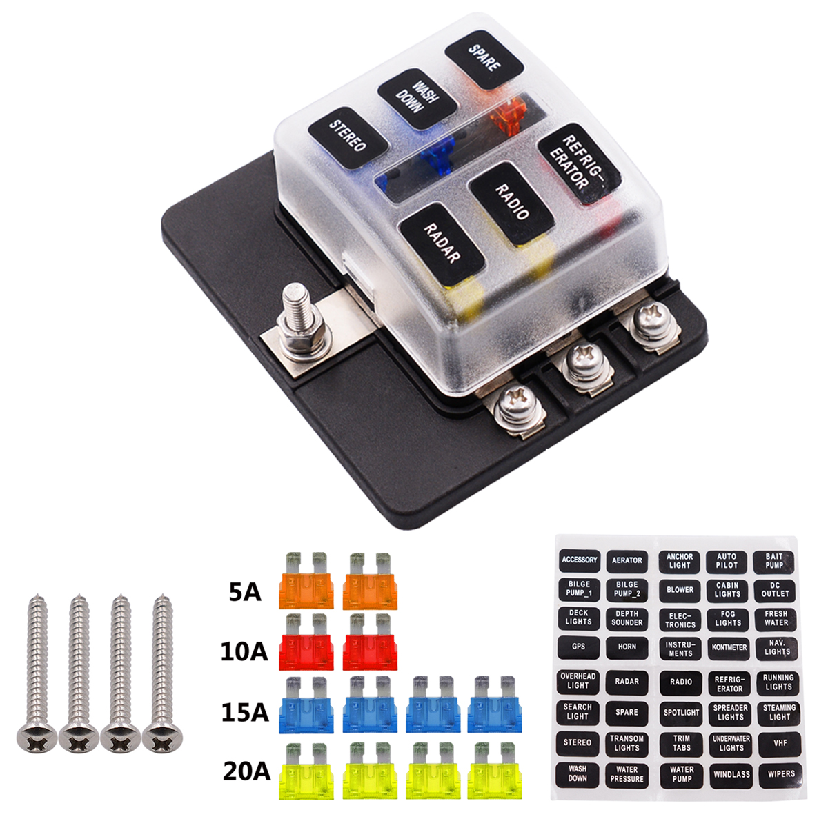 12-32V 6 Way 12 Blade Fuse Box Holder LED Warning Lights Car Race Rally Marine